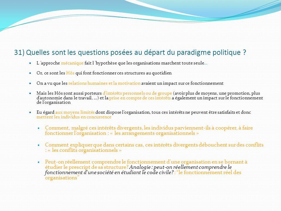 31) Quelles sont les questions posées au départ du paradigme politique ? L approche mécanique fait l hypothèse que les organisations marchent toute se