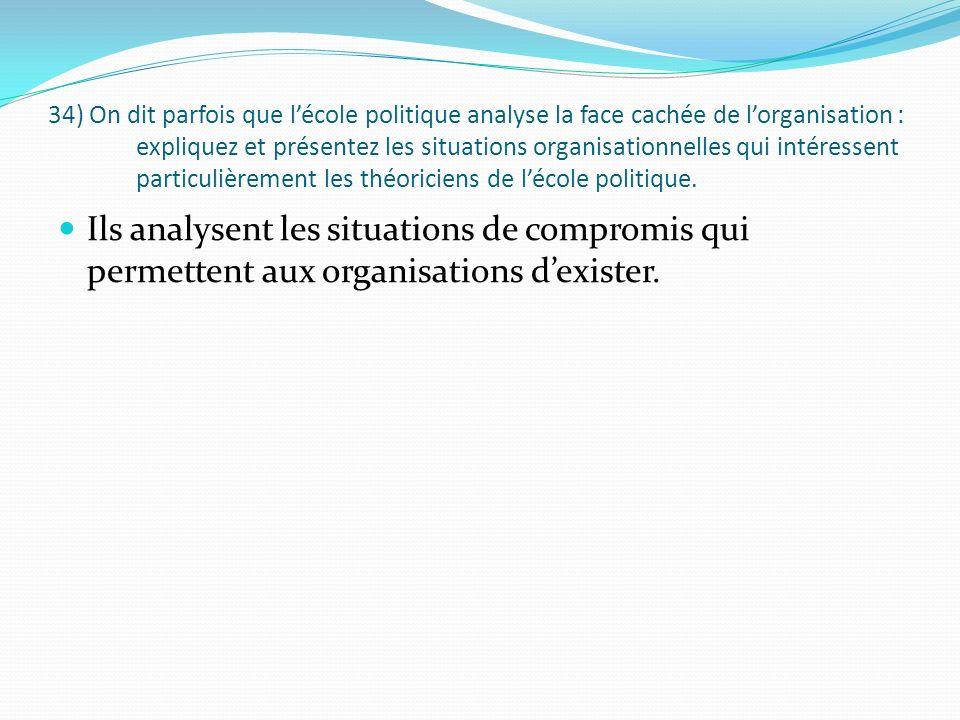 34) On dit parfois que lécole politique analyse la face cachée de lorganisation : expliquez et présentez les situations organisationnelles qui intéres