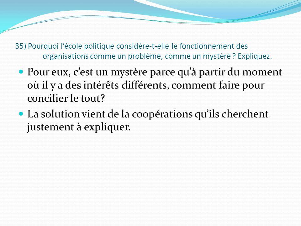 35) Pourquoi lécole politique considère-t-elle le fonctionnement des organisations comme un problème, comme un mystère ? Expliquez. Pour eux, cest un