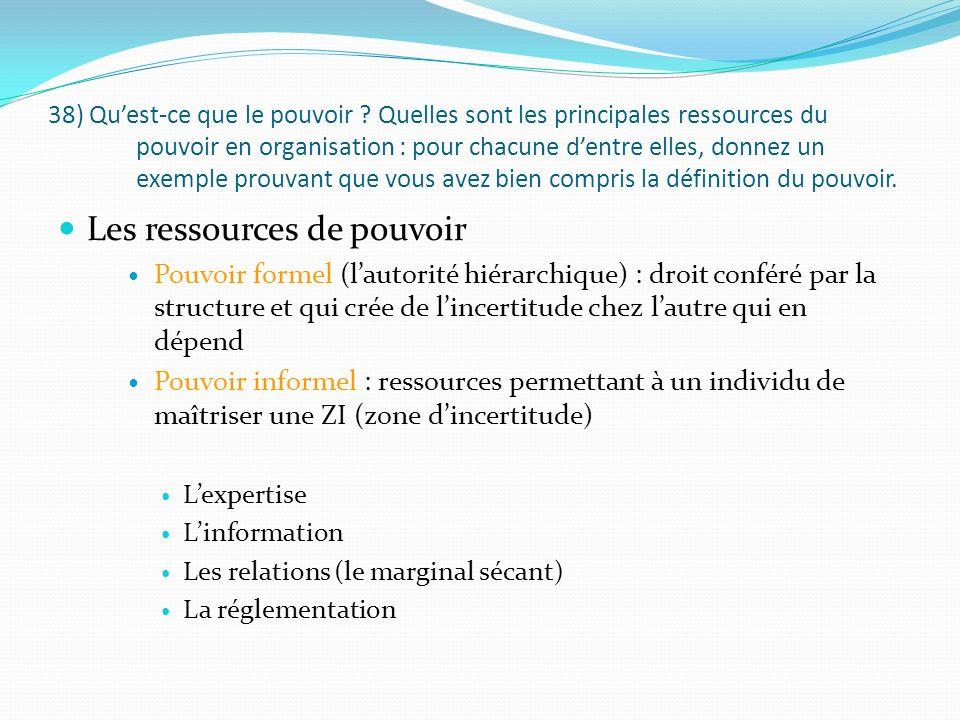 38) Quest-ce que le pouvoir ? Quelles sont les principales ressources du pouvoir en organisation : pour chacune dentre elles, donnez un exemple prouva