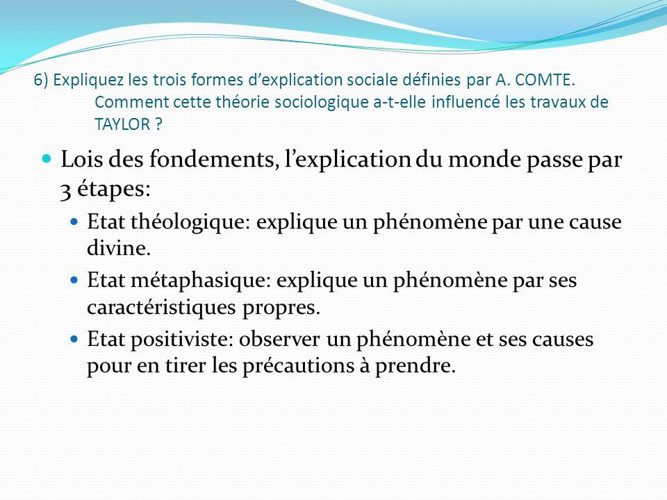 6) Expliquez les trois formes dexplication sociale définies par A. COMTE. Comment cette théorie sociologique a-t-elle influencé les travaux de TAYLOR