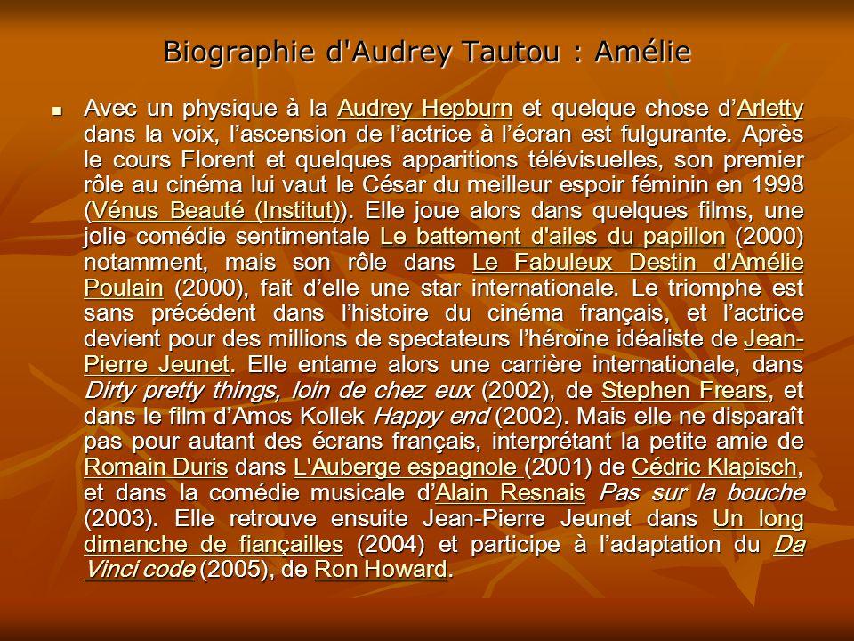 Biographie d Audrey Tautou : Amélie Avec un physique à la Audrey Hepburn et quelque chose dArletty dans la voix, lascension de lactrice à lécran est fulgurante.
