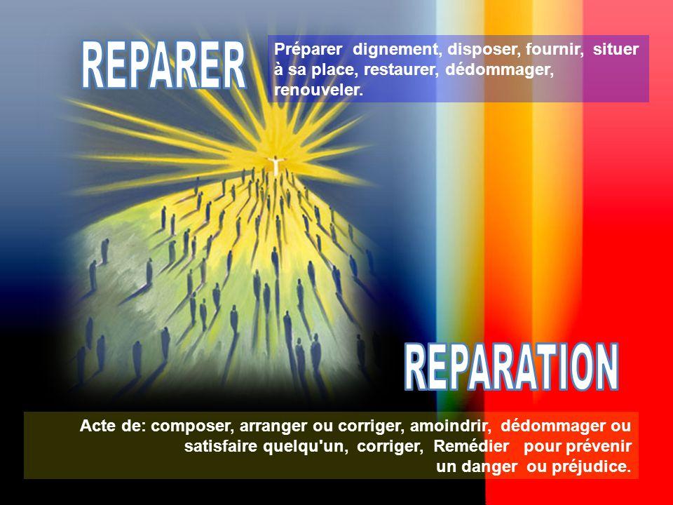 Préparer dignement, disposer, fournir, situer à sa place, restaurer, dédommager, renouveler.