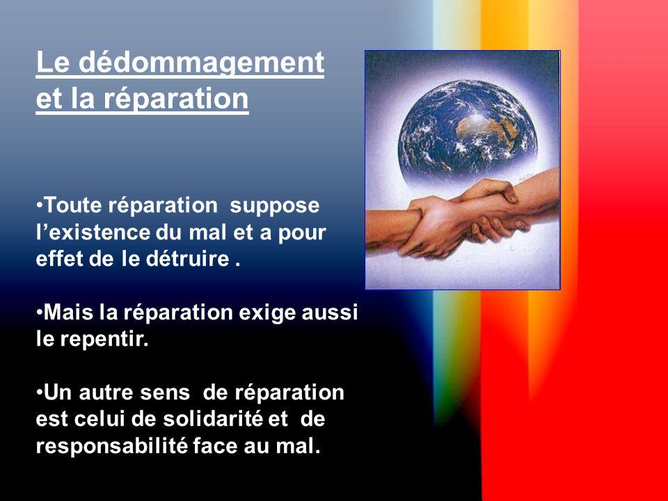 Le dédommagement et la réparation Toute réparation suppose lexistence du mal et a pour effet de le détruire.