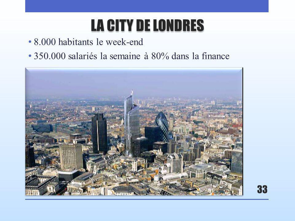 LA CITY DE LONDRES 8.000 habitants le week-end 350.000 salariés la semaine à 80% dans la finance 33