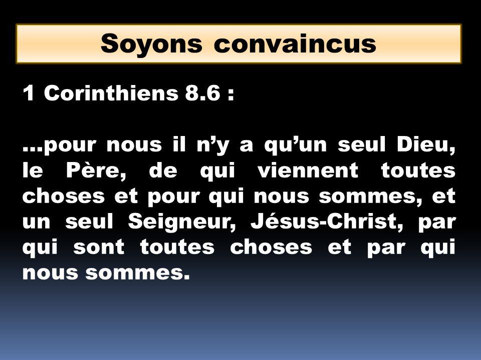 Soyons convaincus 1 Corinthiens 8.6 : …pour nous il ny a quun seul Dieu, le Père, de qui viennent toutes choses et pour qui nous sommes, et un seul Seigneur, Jésus-Christ, par qui sont toutes choses et par qui nous sommes.