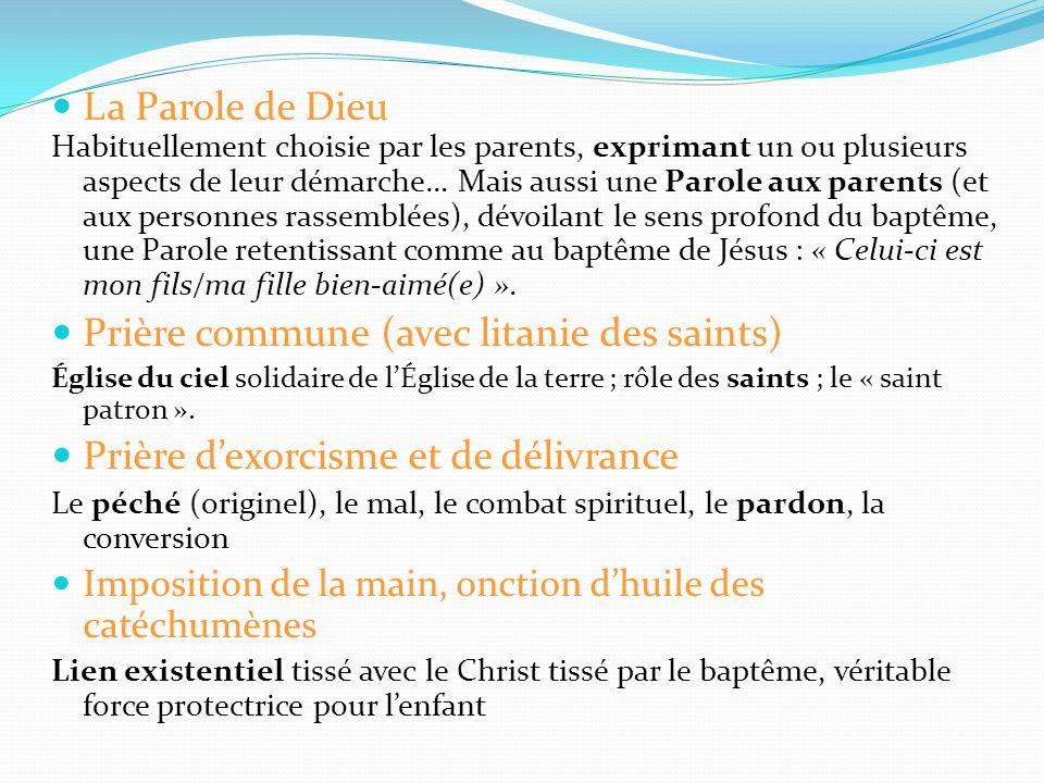 La Parole de Dieu Habituellement choisie par les parents, exprimant un ou plusieurs aspects de leur démarche… Mais aussi une Parole aux parents (et aux personnes rassemblées), dévoilant le sens profond du baptême, une Parole retentissant comme au baptême de Jésus : « Celui-ci est mon fils/ma fille bien-aimé(e) ».