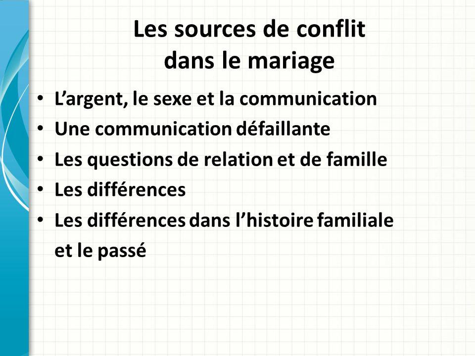 Les sources de conflit dans le mariage Largent, le sexe et la communication Une communication défaillante Les questions de relation et de famille Les différences Les différences dans lhistoire familiale et le passé
