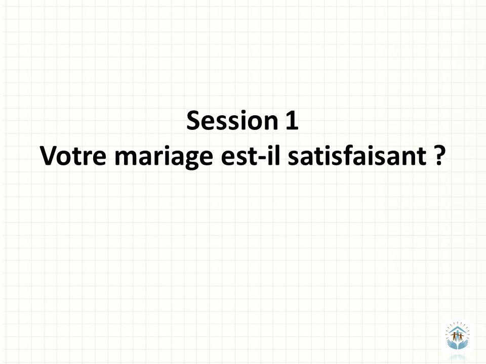 Session 1 Votre mariage est-il satisfaisant