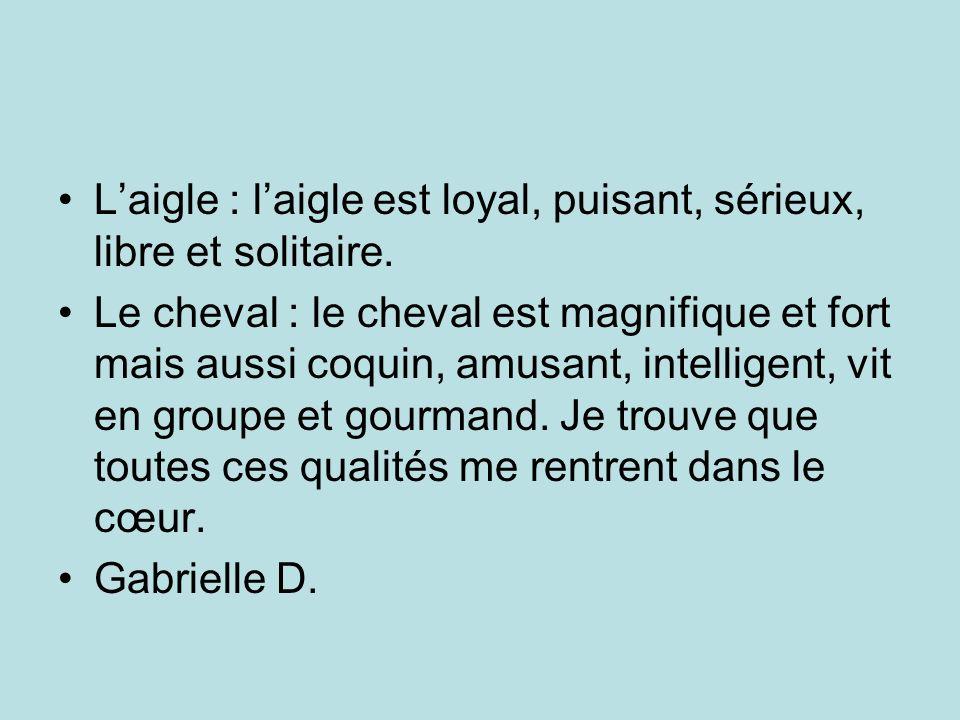 Laigle : laigle est loyal, puisant, sérieux, libre et solitaire. Le cheval : le cheval est magnifique et fort mais aussi coquin, amusant, intelligent,