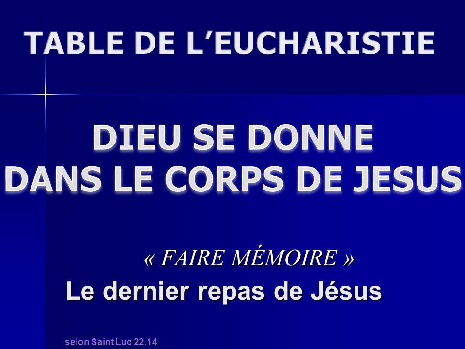 Le dernier repas de Jésus selon Saint Luc 22.14 « FAIRE MÉMOIRE »