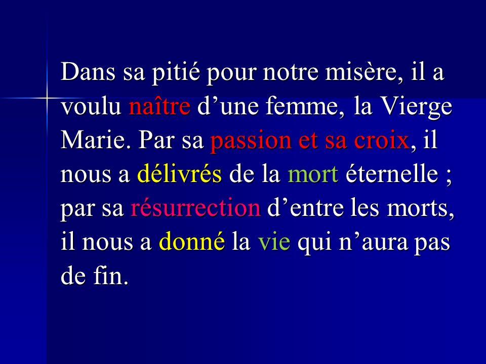Dans sa pitié pour notre misère, il a voulu naître dune femme, la Vierge Marie.