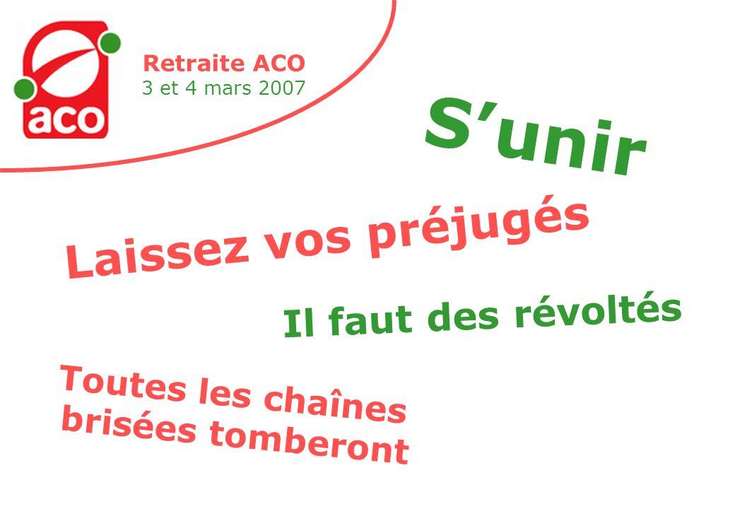 Retraite ACO 3 et 4 mars 2007 Laissez vos préjugés Sunir Toutes les chaînes brisées tomberont Il faut des révoltés