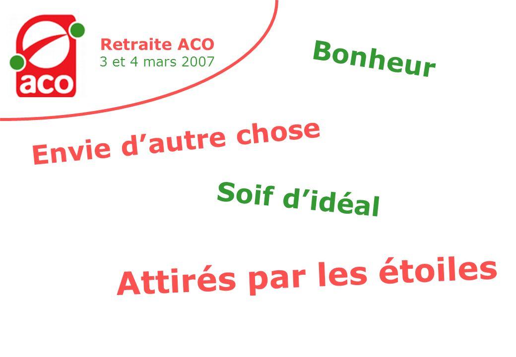 Retraite ACO 3 et 4 mars 2007 Envie dautre chose Bonheur Soif didéal Attirés par les étoiles