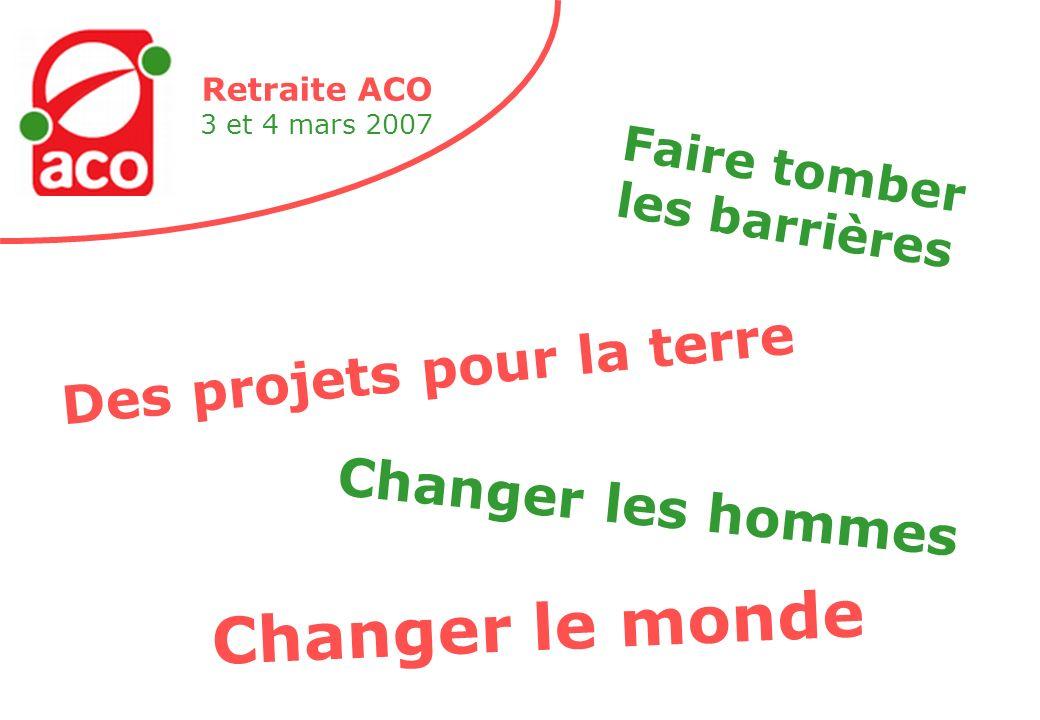 Retraite ACO 3 et 4 mars 2007 Des projets pour la terre Faire tomber les barrières Changer les hommes Changer le monde