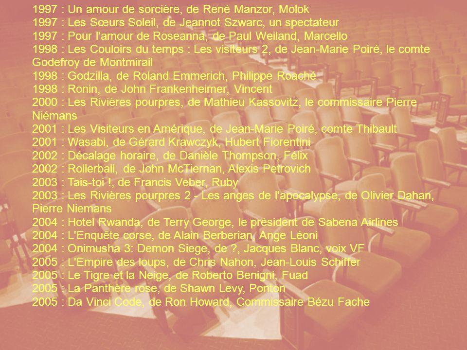 1985 : Subway, de Luc Besson 1986 : Pour venger Pépère, de Joël Séria 1986 : Zone rouge, de Robert Enrico 1986 : I Love You, de Marco Ferreri, 1987 : Monsieur Benjamin, de Marie-Hélène Rebois, 1988 : Le Grand Bleu, de Luc Besson, Enzo Molinari 1990 : Nikita, de Luc Besson, Victor le « nettoyeur » 1990 : L Homme au masque d or, de Eric Duret, 1991 : Loulou Graffiti, de Christian Lejalé, 1991 : L Opération Corned-Beef, de Jean-Marie Poiré, 1992 : Porco Rosso, de Hayao Miyazaki, 1993 : Paranoïa, de Frédéric Forestier 1993 : Les Visiteurs, de Jean-Marie Poiré, 1993 : Flight from Justice, de Don Kent, Charlie Bert, 1993 : L Incroyable Voyage, de Duwayne Dunham, 1994 : Léon, de Luc Besson, Léon 1995 : Les Truffes, de Bernard Nauer, 1995 : Par-delà les nuages, de Michelangelo Antonioni, 1995 : Bons Baisers de France, de Lawrence Kasdan, 1996 : Le Jaguar, de Francis Veber, Jean Campana 1996 : Mission : Impossible, de Brian De Palma, Franz Krieger