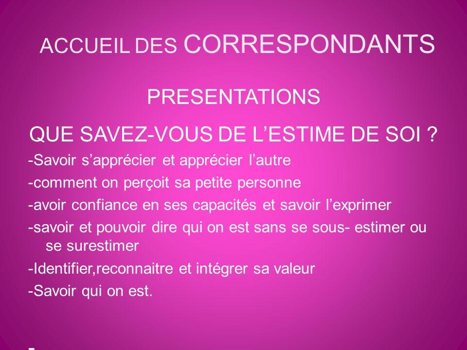 ACCUEIL DES CORRESPONDANTS PRESENTATIONS QUE SAVEZ-VOUS DE LESTIME DE SOI .