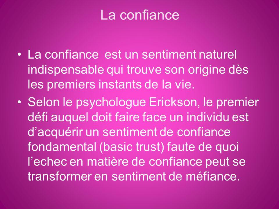 La confiance La confiance est un sentiment naturel indispensable qui trouve son origine dès les premiers instants de la vie.