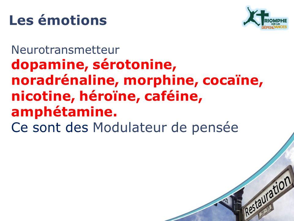 Neurotransmetteur dopamine, sérotonine, noradrénaline, morphine, cocaïne, nicotine, héroïne, caféine, amphétamine. Ce sont des Modulateur de pensée