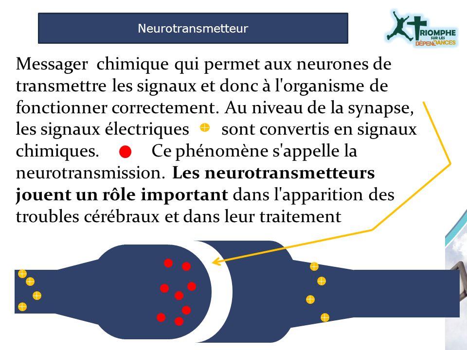 Messager chimique qui permet aux neurones de transmettre les signaux et donc à l'organisme de fonctionner correctement. Au niveau de la synapse, les s