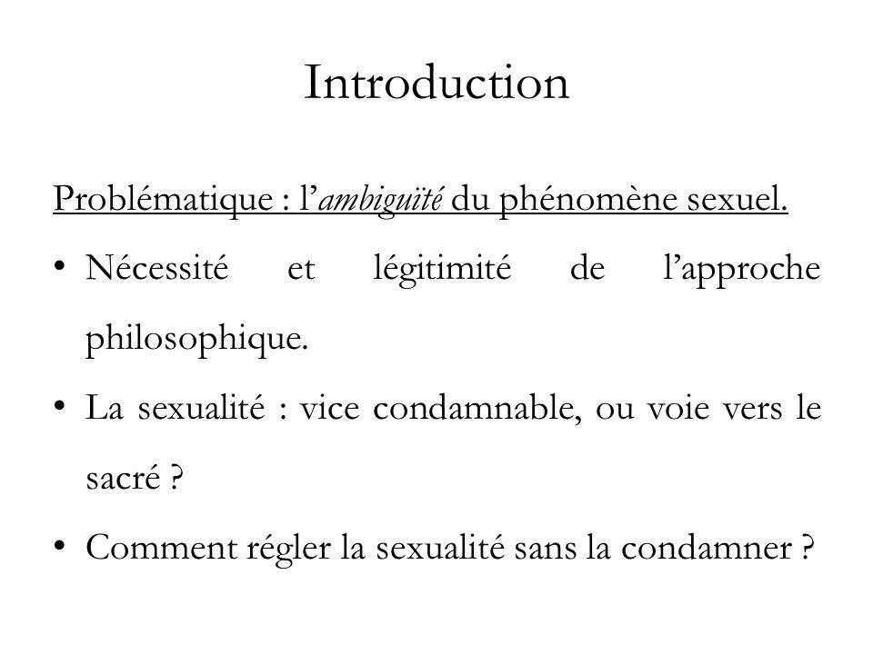 Introduction Problématique : lambiguïté du phénomène sexuel. Nécessité et légitimité de lapproche philosophique. La sexualité : vice condamnable, ou v
