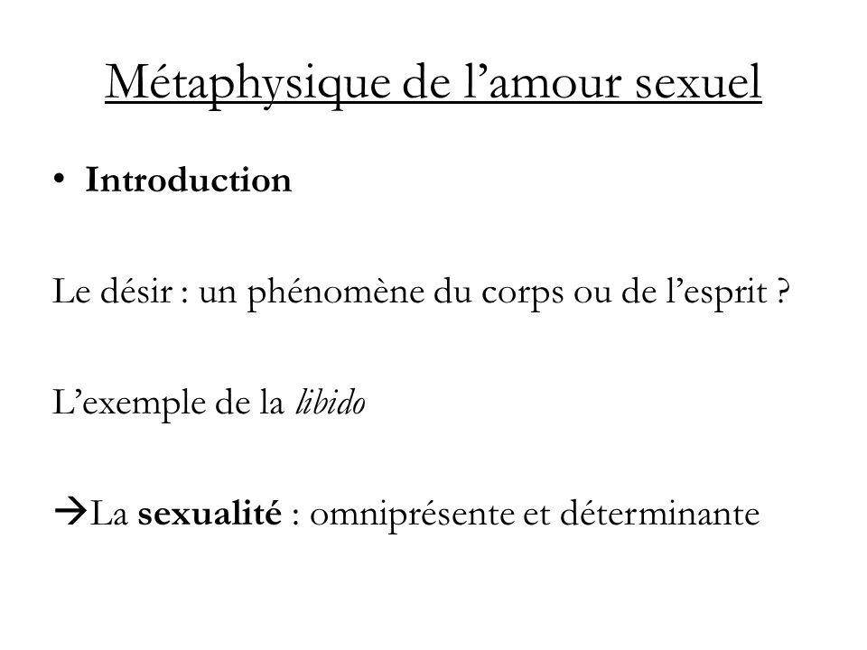Métaphysique de lamour sexuel Introduction Le désir : un phénomène du corps ou de lesprit ? Lexemple de la libido La sexualité : omniprésente et déter
