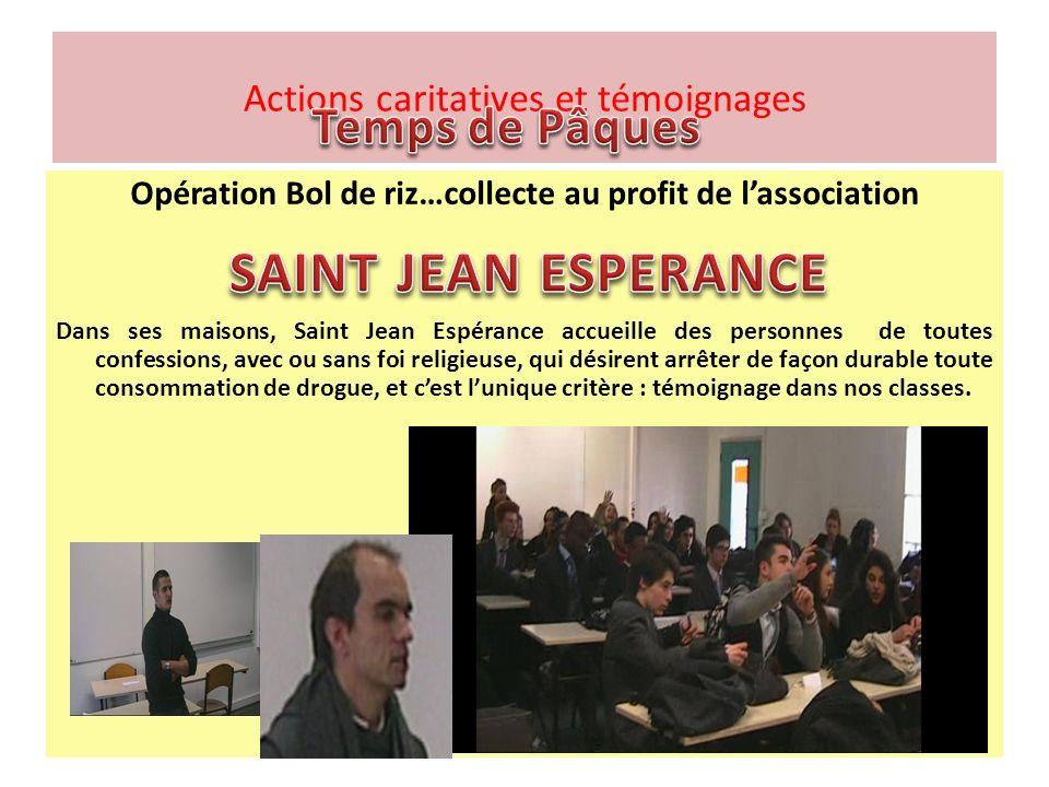 Opération Bol de riz…collecte au profit de lassociation Dans ses maisons, Saint Jean Espérance accueille des personnes de toutes confessions, avec ou