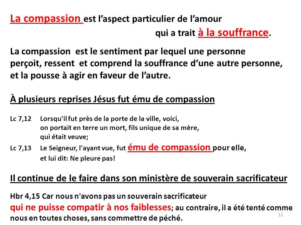 La compassion est laspect particulier de lamour qui a trait à la souffrance.