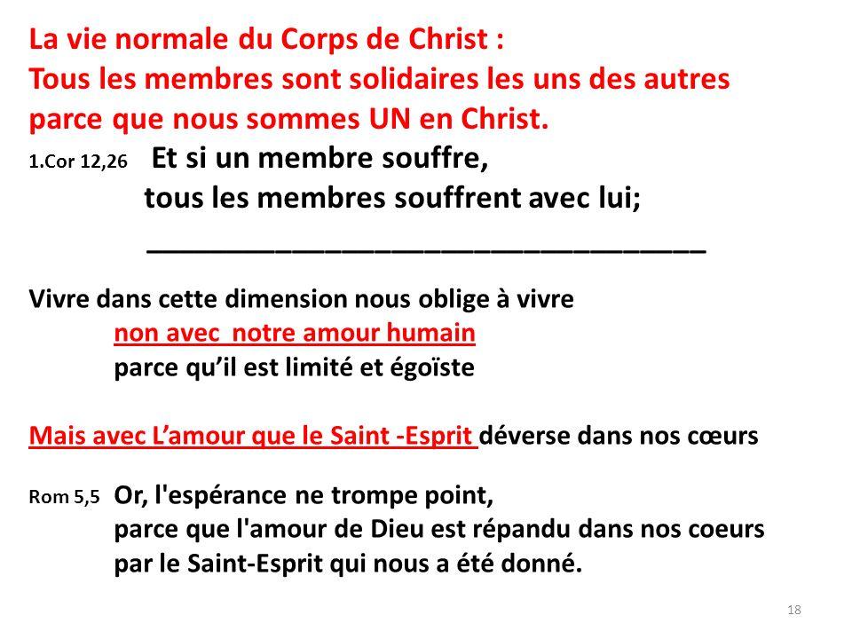 La vie normale du Corps de Christ : Tous les membres sont solidaires les uns des autres parce que nous sommes UN en Christ.