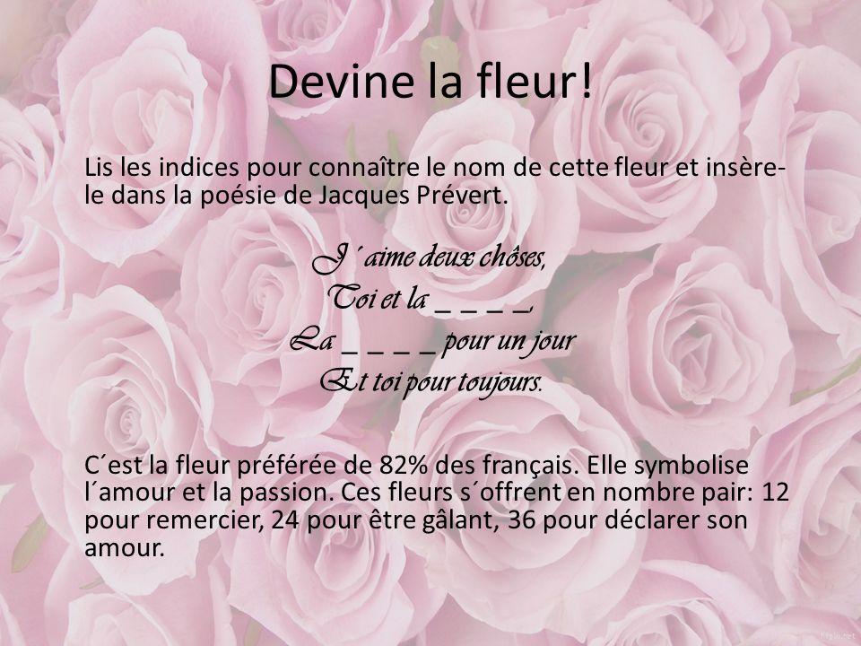 Devine la fleur! Lis les indices pour connaître le nom de cette fleur et insère- le dans la poésie de Jacques Prévert. J´aime deux chôses, Toi et la _