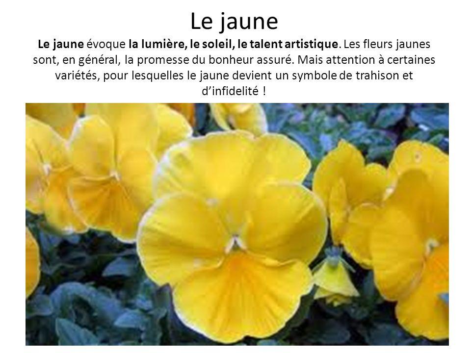 Le jaune Le jaune évoque la lumière, le soleil, le talent artistique. Les fleurs jaunes sont, en général, la promesse du bonheur assuré. Mais attentio