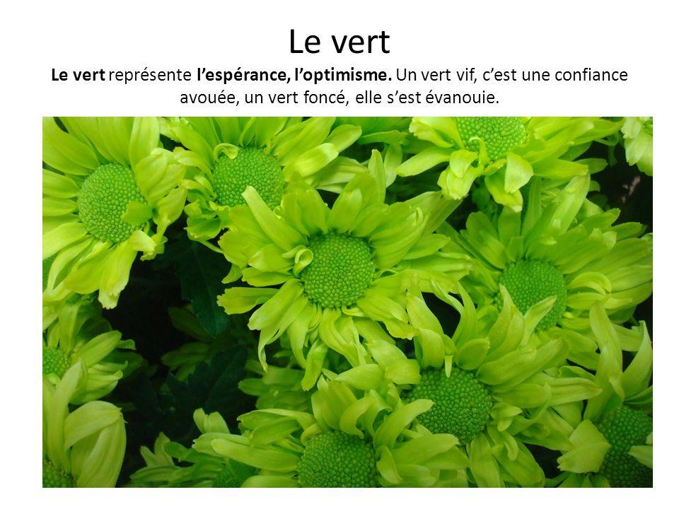 Le vert Le vert représente lespérance, loptimisme. Un vert vif, cest une confiance avouée, un vert foncé, elle sest évanouie.