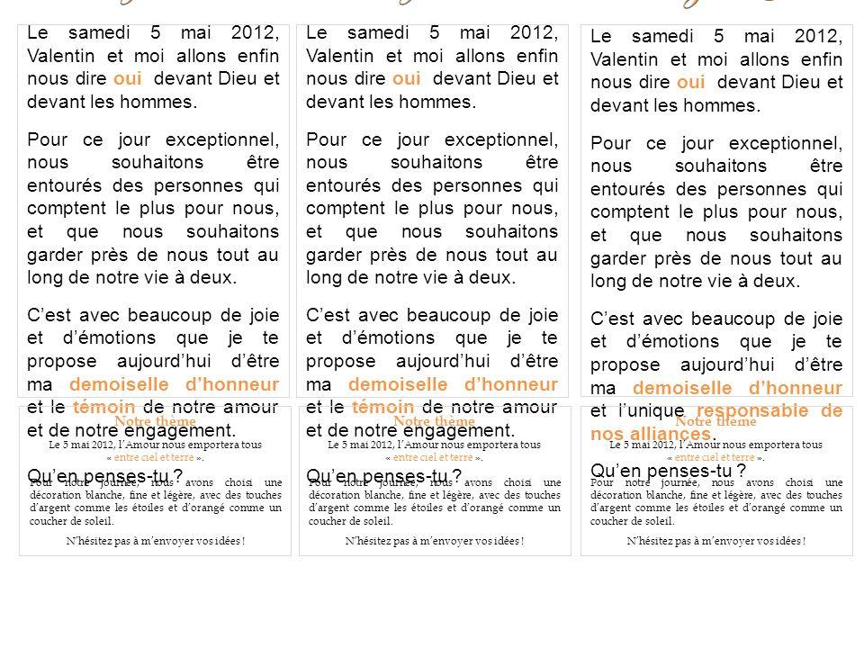 Notre thème Le 5 mai 2012, lAmour nous emportera tous « entre ciel et terre ».