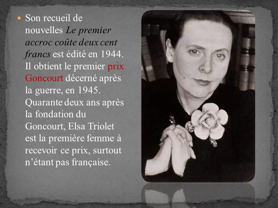 Son recueil de nouvelles Le premier accroc coûte deux cent francs est édité en 1944.