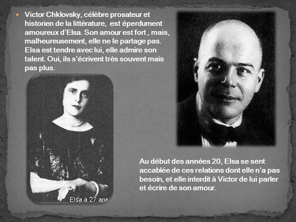 Victor Chklovsky, célèbre prosateur et historien de la littérature, est éperdument amoureux dElsa.