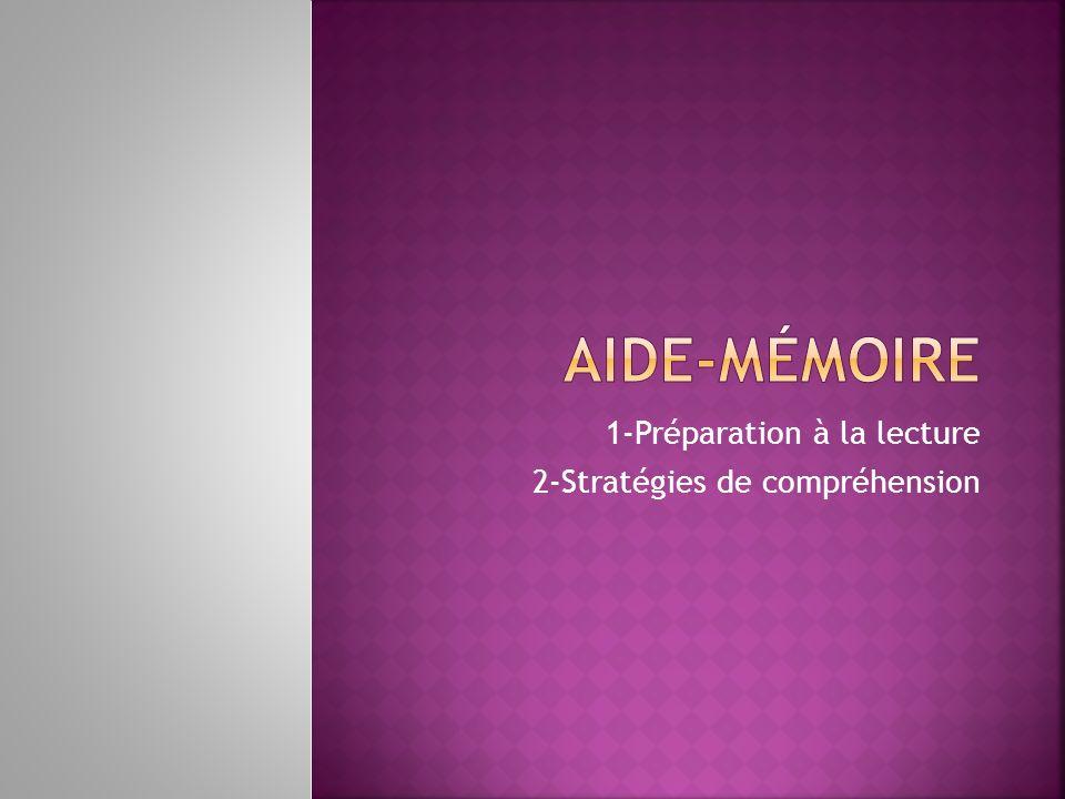 1-Préparation à la lecture 2-Stratégies de compréhension