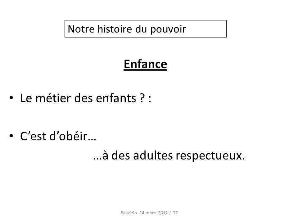 Enfance Le métier des enfants . : Cest dobéir… …à des adultes respectueux.