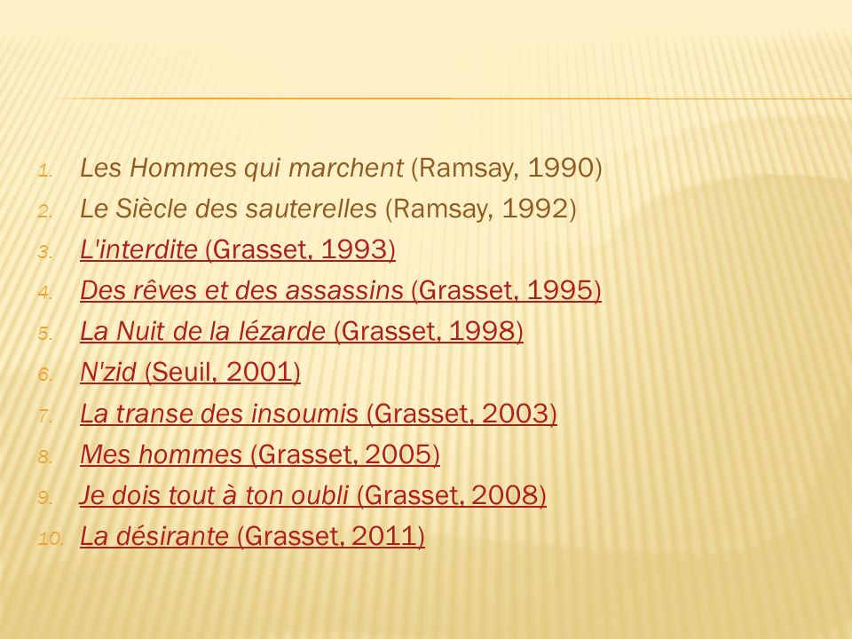 1. Les Hommes qui marchent (Ramsay, 1990) 2. Le Siècle des sauterelles (Ramsay, 1992) 3. L'interdite (Grasset, 1993) L'interdite (Grasset, 1993) 4. De
