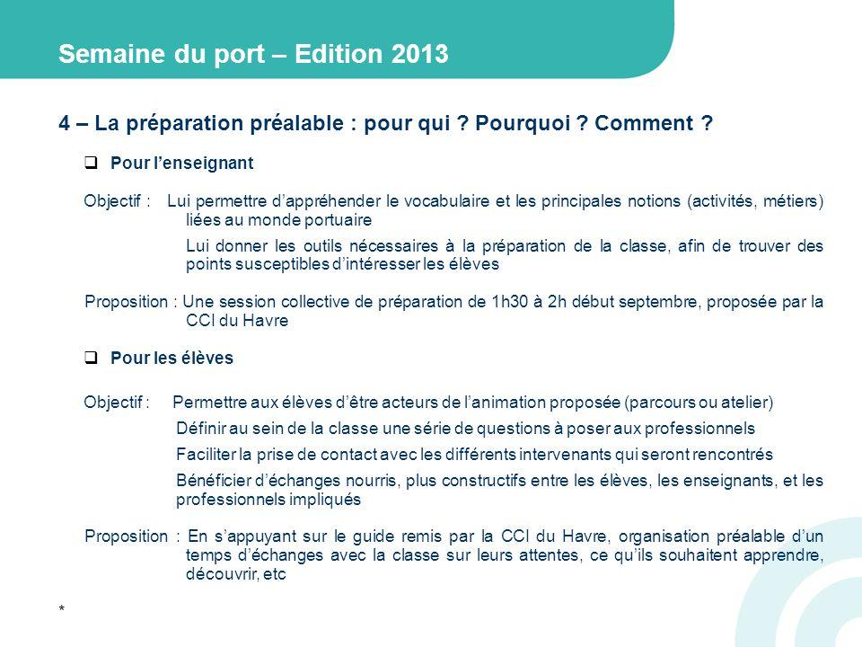 Semaine du port – Edition 2013 4 – La préparation préalable : pour qui .