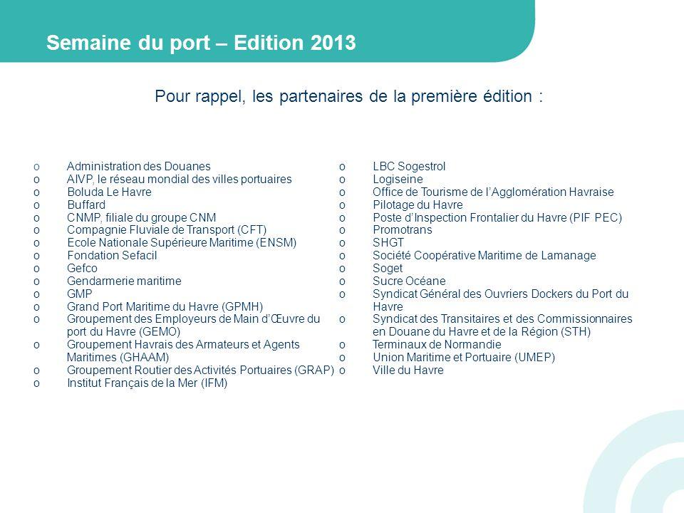 Pour rappel, les partenaires de la première édition : oAdministration des Douanes oAIVP, le réseau mondial des villes portuaires oBoluda Le Havre oBuffard oCNMP, filiale du groupe CNM oCompagnie Fluviale de Transport (CFT) oEcole Nationale Supérieure Maritime (ENSM) oFondation Sefacil oGefco oGendarmerie maritime oGMP oGrand Port Maritime du Havre (GPMH) oGroupement des Employeurs de Main dŒuvre du port du Havre (GEMO) oGroupement Havrais des Armateurs et Agents Maritimes (GHAAM) oGroupement Routier des Activités Portuaires (GRAP) oInstitut Français de la Mer (IFM) oLBC Sogestrol oLogiseine oOffice de Tourisme de lAgglomération Havraise oPilotage du Havre oPoste dInspection Frontalier du Havre (PIF PEC) oPromotrans oSHGT oSociété Coopérative Maritime de Lamanage oSoget oSucre Océane oSyndicat Général des Ouvriers Dockers du Port du Havre oSyndicat des Transitaires et des Commissionnaires en Douane du Havre et de la Région (STH) oTerminaux de Normandie oUnion Maritime et Portuaire (UMEP) oVille du Havre Semaine du port – Edition 2013
