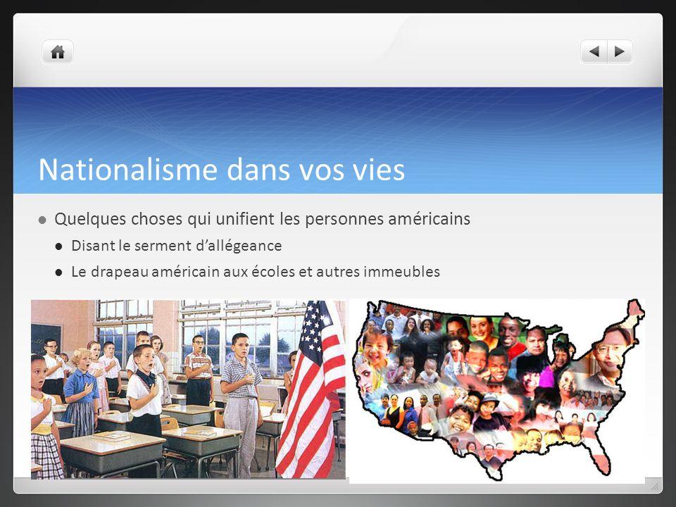 Nationalisme dans vos vies Quelques choses qui unifient les personnes américains Disant le serment dallégeance Le drapeau américain aux écoles et autres immeubles