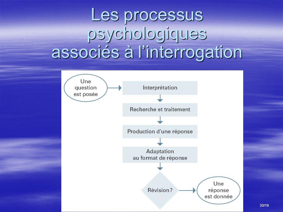 Les processus psychologiques associés à linterrogation 30/19