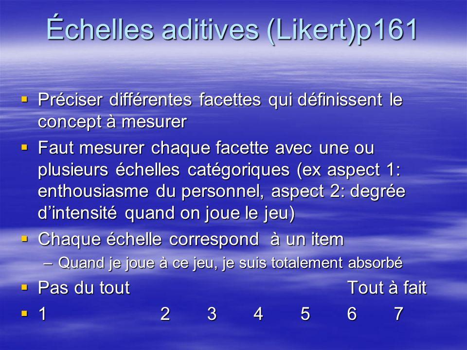Échelles aditives (Likert)p161 Préciser différentes facettes qui définissent le concept à mesurer Préciser différentes facettes qui définissent le concept à mesurer Faut mesurer chaque facette avec une ou plusieurs échelles catégoriques (ex aspect 1: enthousiasme du personnel, aspect 2: degrée dintensité quand on joue le jeu) Faut mesurer chaque facette avec une ou plusieurs échelles catégoriques (ex aspect 1: enthousiasme du personnel, aspect 2: degrée dintensité quand on joue le jeu) Chaque échelle correspond à un item Chaque échelle correspond à un item –Quand je joue à ce jeu, je suis totalement absorbé Pas du toutTout à fait Pas du toutTout à fait 1 234567 1 234567