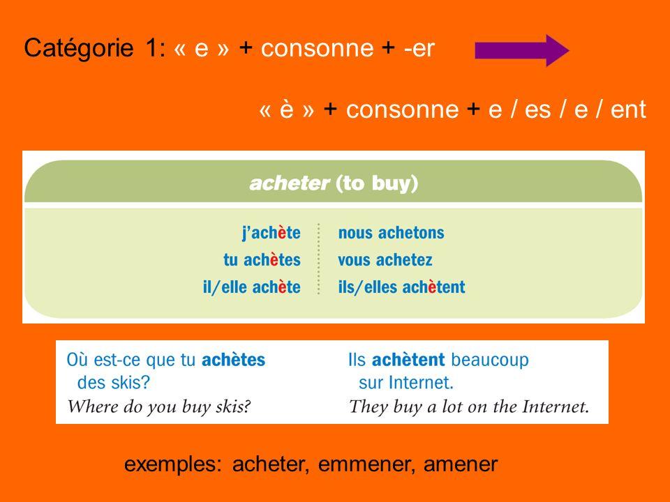 Catégorie 1: « e » + consonne + -er « è » + consonne + e / es / e / ent exemples: acheter, emmener, amener