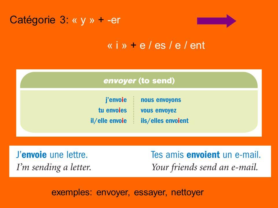 Catégorie 3: « y » + -er « i » + e / es / e / ent exemples: envoyer, essayer, nettoyer