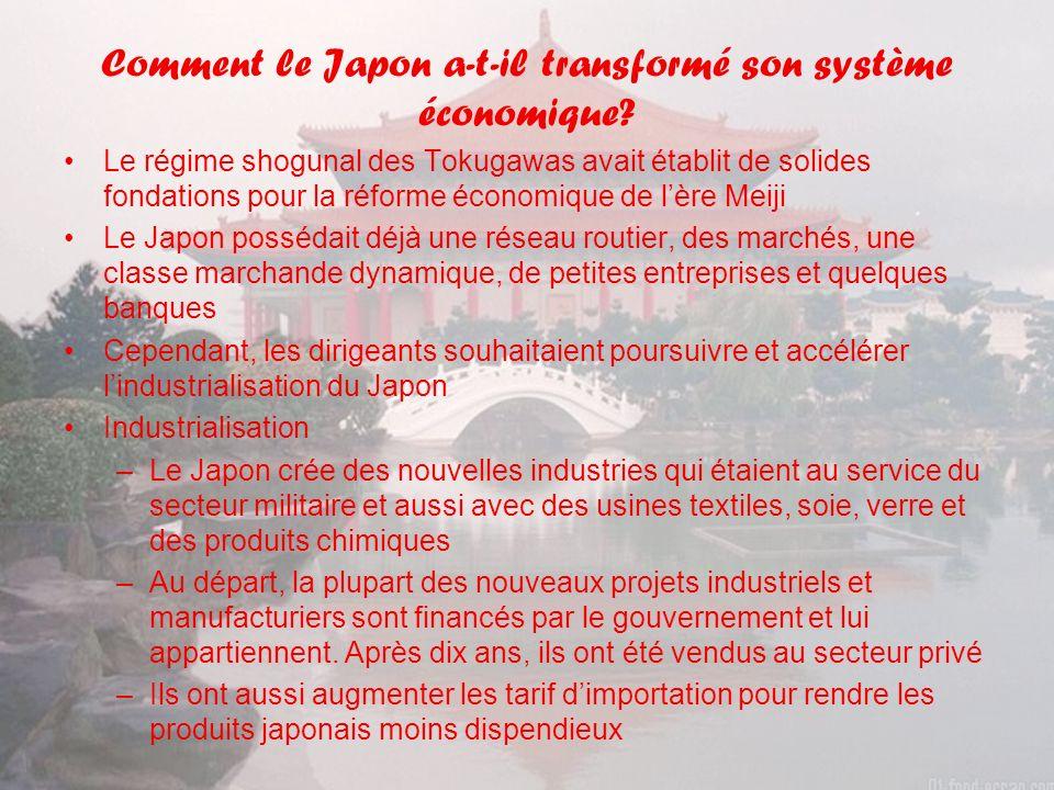Comment le Japon a-t-il transformé son système économique.