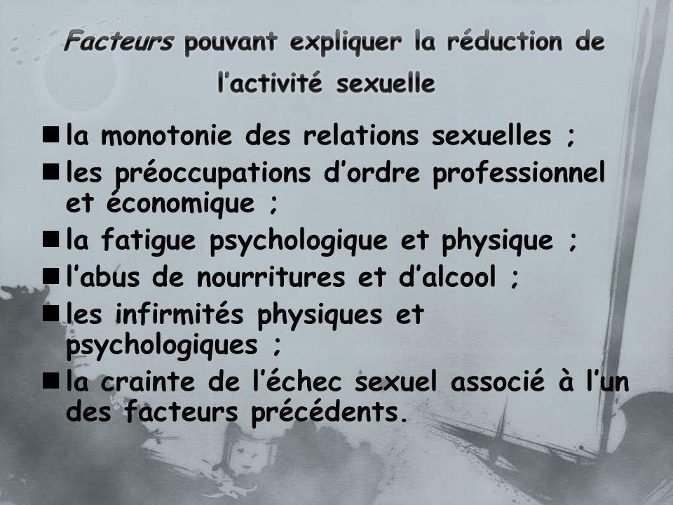 la monotonie des relations sexuelles ; les préoccupations dordre professionnel et économique ; la fatigue psychologique et physique ; labus de nourrit