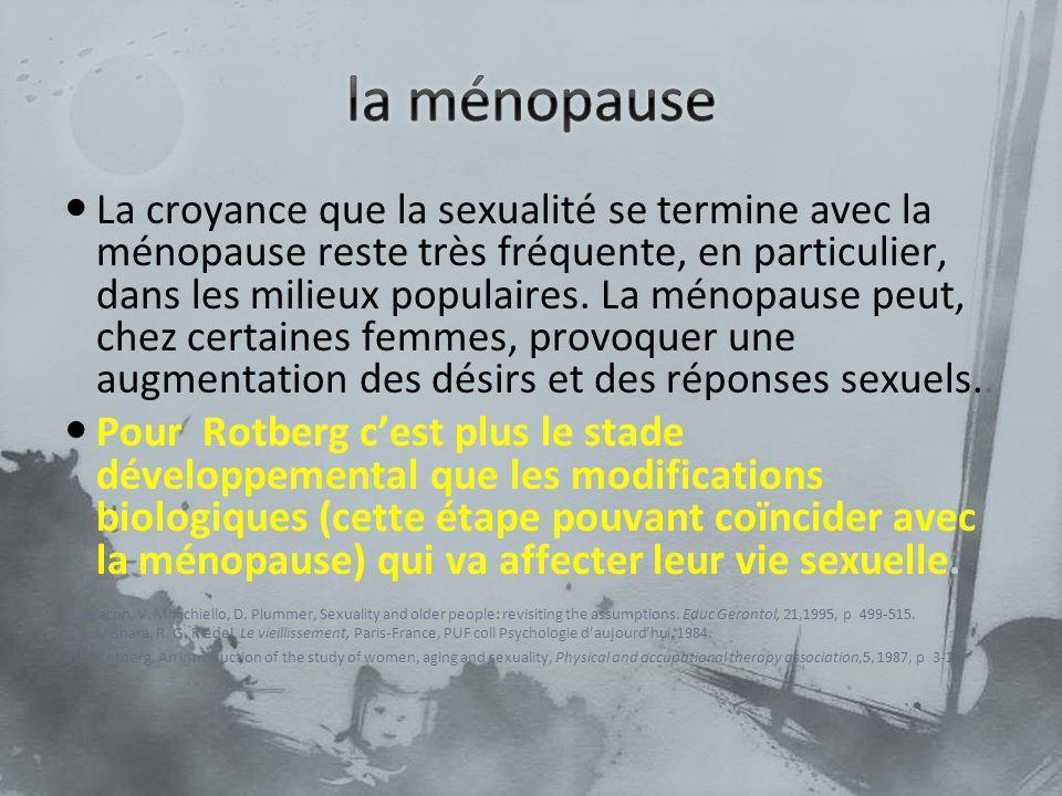 La croyance que la sexualité se termine avec la ménopause reste très fréquente, en particulier, dans les milieux populaires. La ménopause peut, chez c