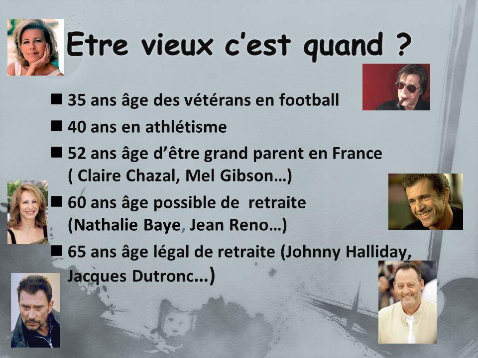 35 ans âge des vétérans en football 40 ans en athlétisme 52 ans âge dêtre grand parent en France ( Claire Chazal, Mel Gibson…) 60 ans âge possible de