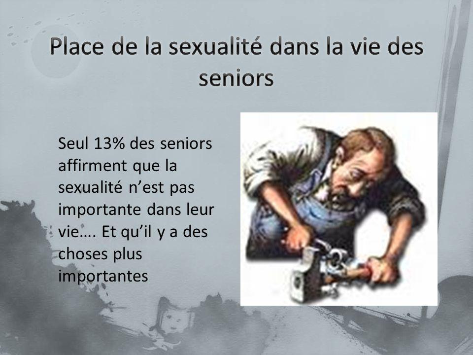 Seul 13% des seniors affirment que la sexualité nest pas importante dans leur vie…. Et quil y a des choses plus importantes